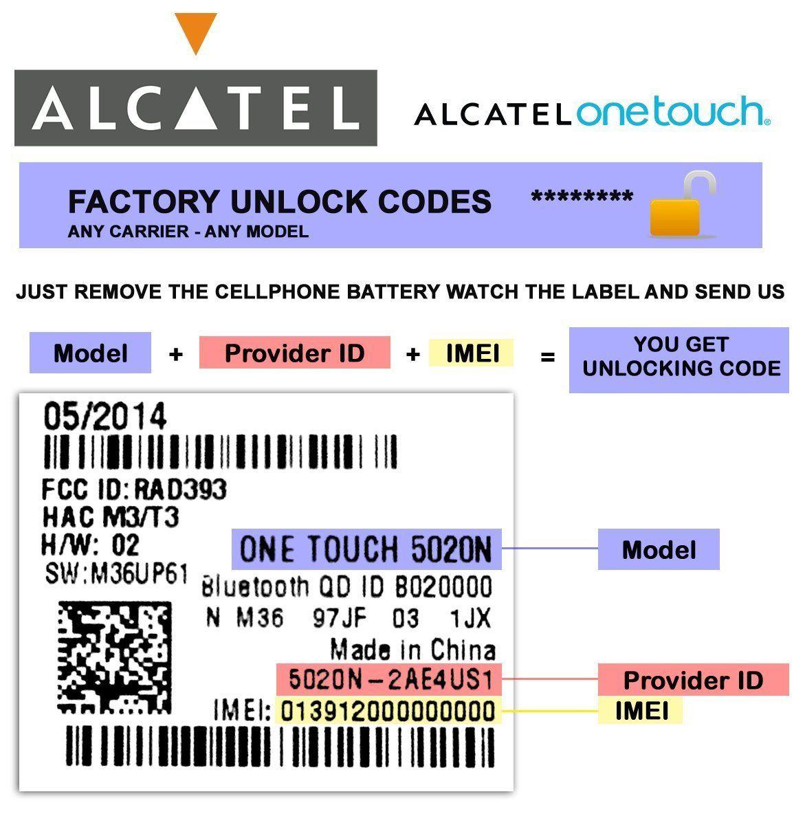 Alcatel factory unlocking codes this