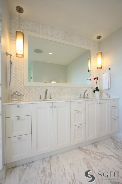 Custom Design Bathrooms Mesmerizing Stunning Bathroom With Wall Length Custom Double Sink Vanity And Design Ideas
