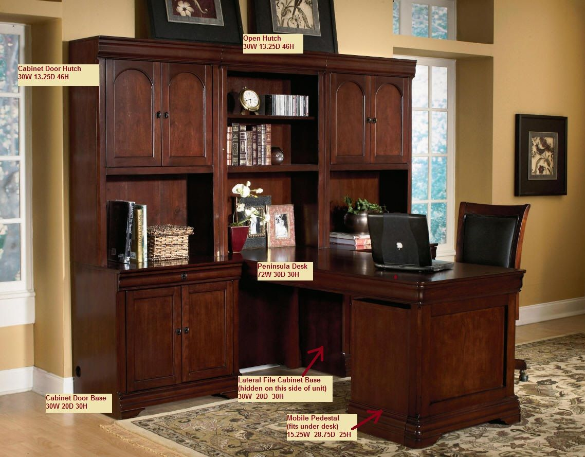 I like this hutch without space wasted for a desktop monitor modular wall desk unit executive Mobile home bedroom furniture