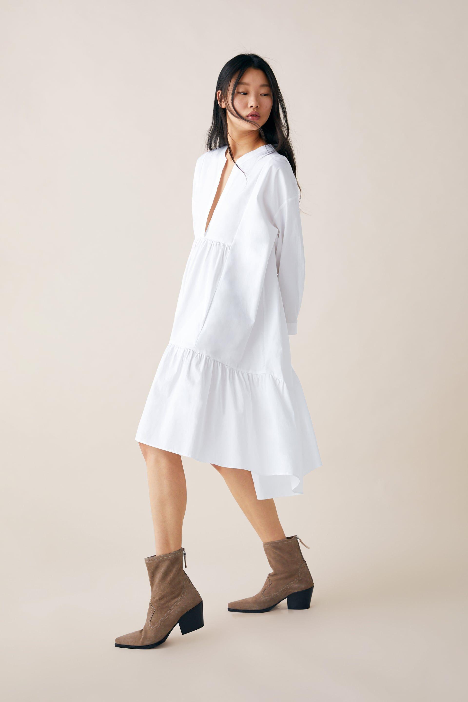 Long Poplin Dress Midi Dresses Woman Zara United States Dresses Womens Midi Dresses Fashion