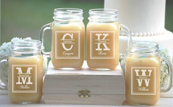 9 Personalized Beer Mug Engraved Mason Jar Gles With Handle Monogrammed Wedding Party Gifts Glware Gleason