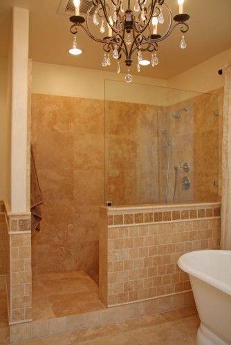 bathroomI love the chandeleir in the bathroom idea and this looks