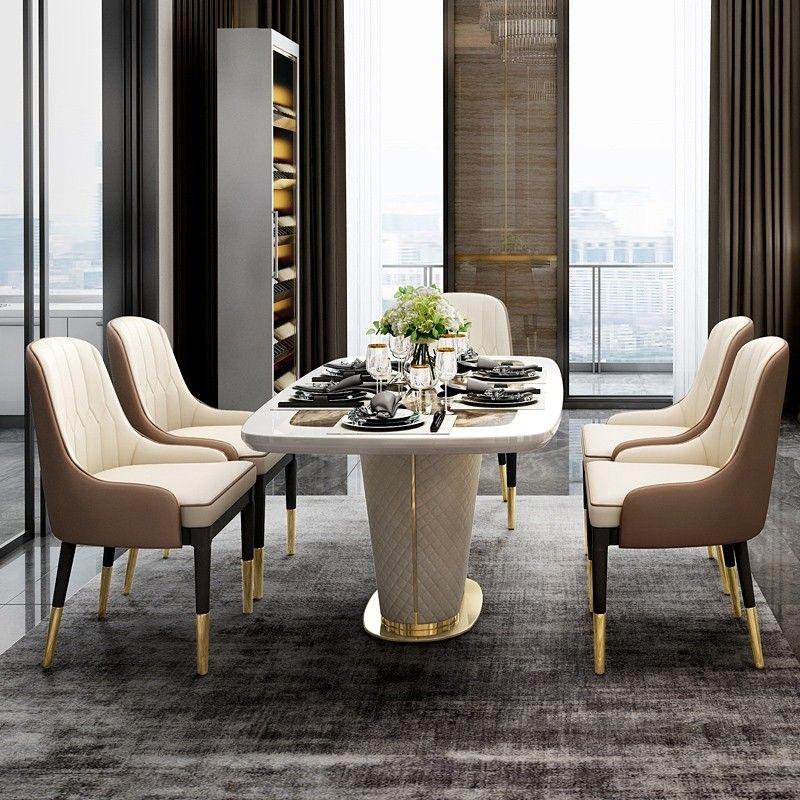 Modern 63 Marble Rectangular Pedestal Dining Table Pu Leather