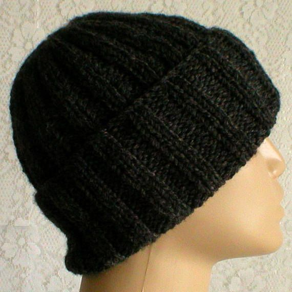 cd424af5c Charcoal gray watch cap brimmed beanie hat slouchy hat winter hat ...