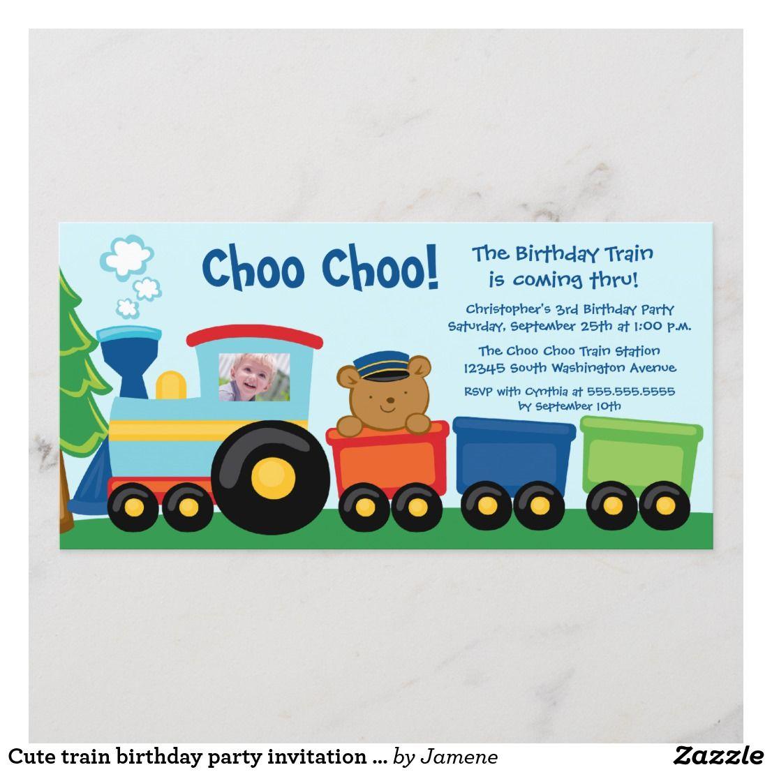 cute train birthday party invitation