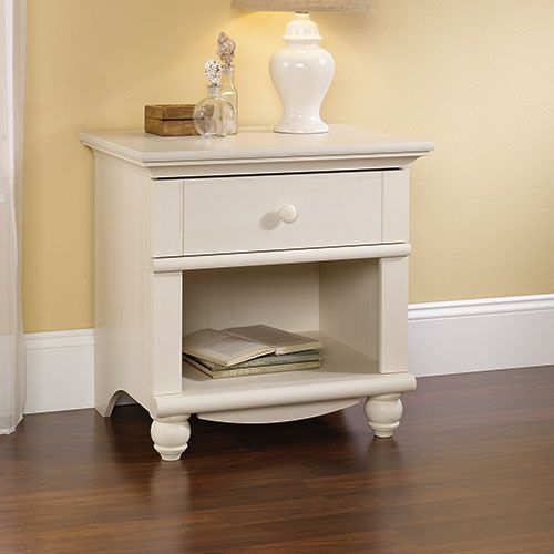 Sauder Harbor View Nightstand Antique White White Nightstand