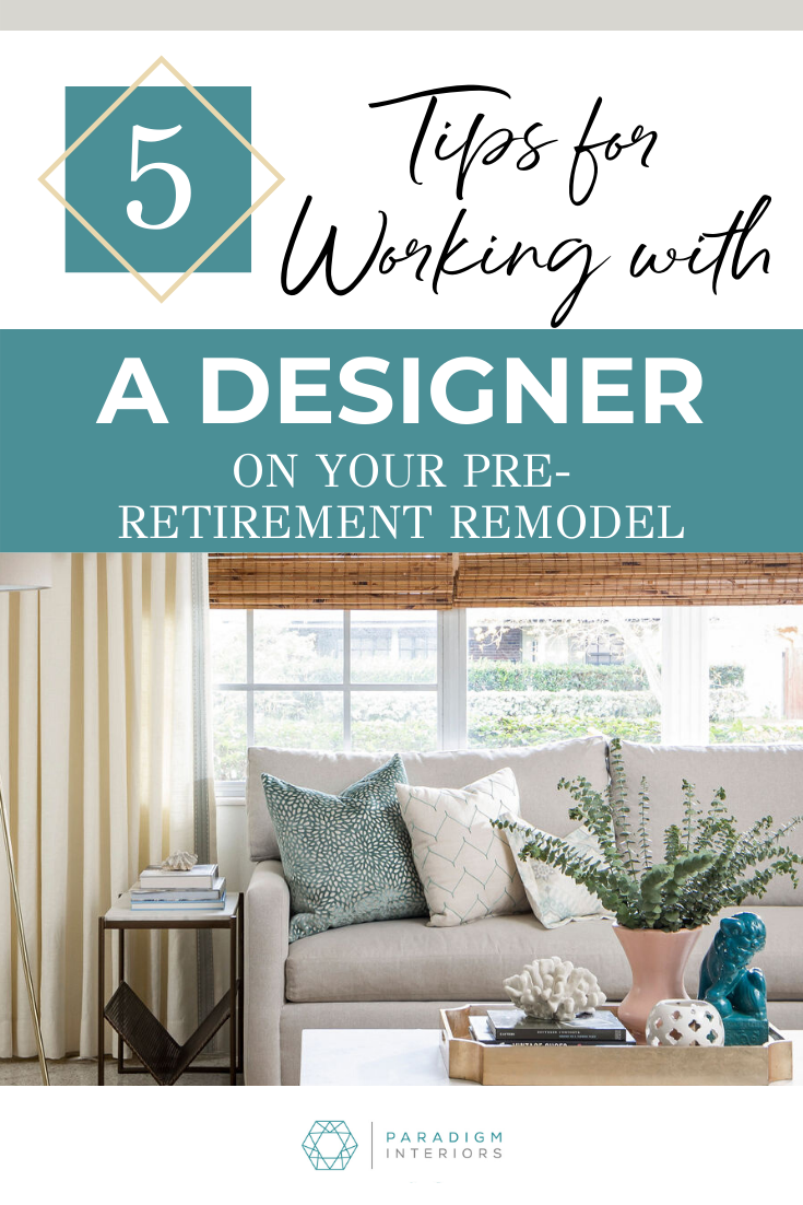 You may be thinking about a pre-retirement remodeling project and want to work with an interior designer. You may not know what to expect from a home decor professional. Whether you want to do re-decorate your home, do a kitchen remodel or a bathroom remodel, or just buys a few pieces of furniture, an aging in place design specialist may be what you need. In this post we talks about what you can expect when you work with a designer. #emptynester #interiordesigntips #retirementplanning