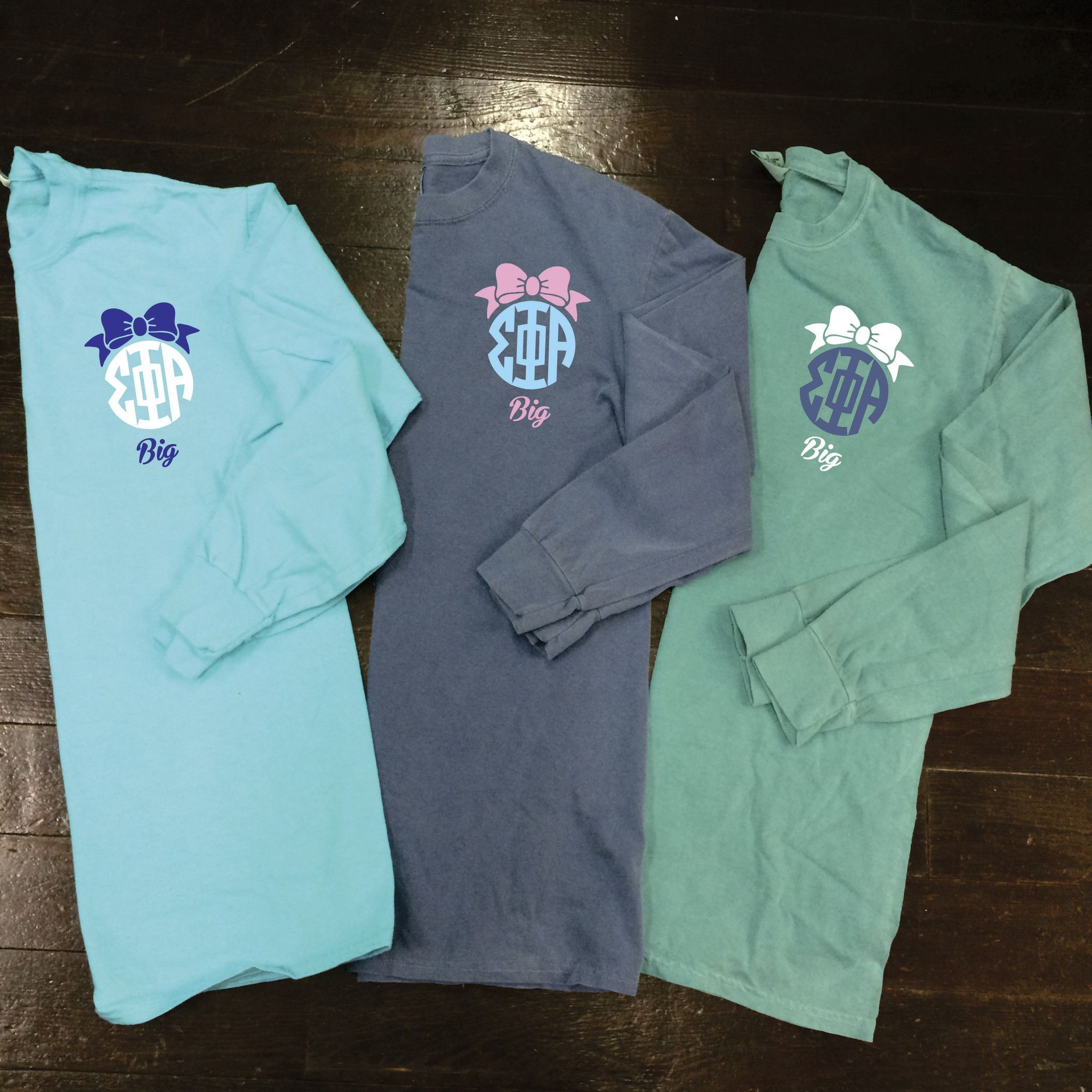big  little  gbig  ggbig sorority bow monogram comfort colors long sleeve