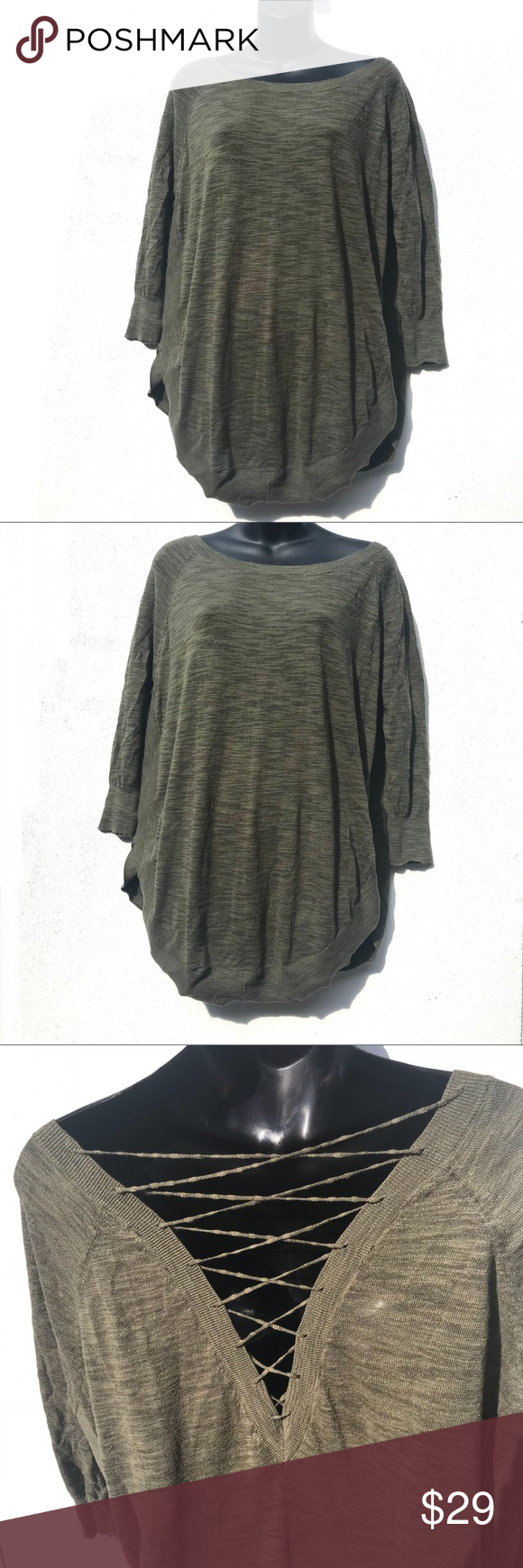 c6fd3b18fb EXPRESS Lace Up Back Circle Hem Sweater Olive green slouchy sweater with  raglan sleeves