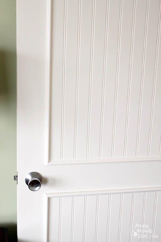 How To Add Molding Panels To A Flat Door Door Makeover Home Diy Closet Door Makeover