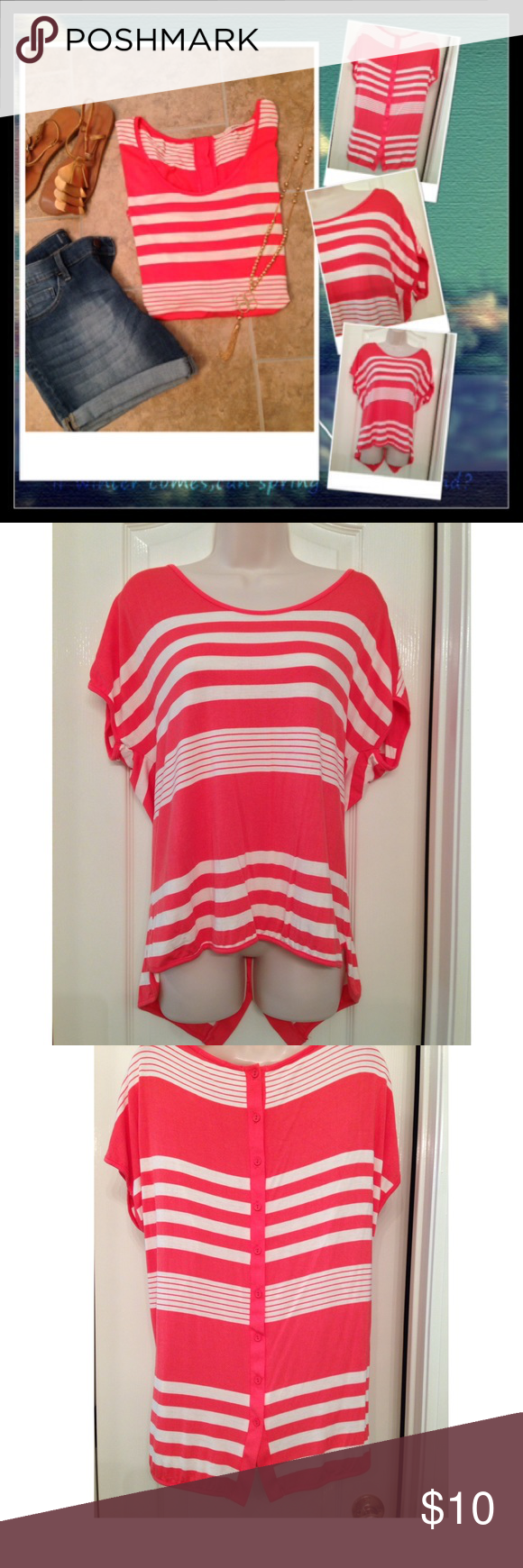 """Tunic Top Gibson top sold by Nordstrom rack. Coral stripe. Pit to pit 22"""". Length front 26"""" back 29"""". Cute back button detail. 95% rayon 5% spandex. Hand wash cold. Excellent condition! Gibson Tops Tunics"""