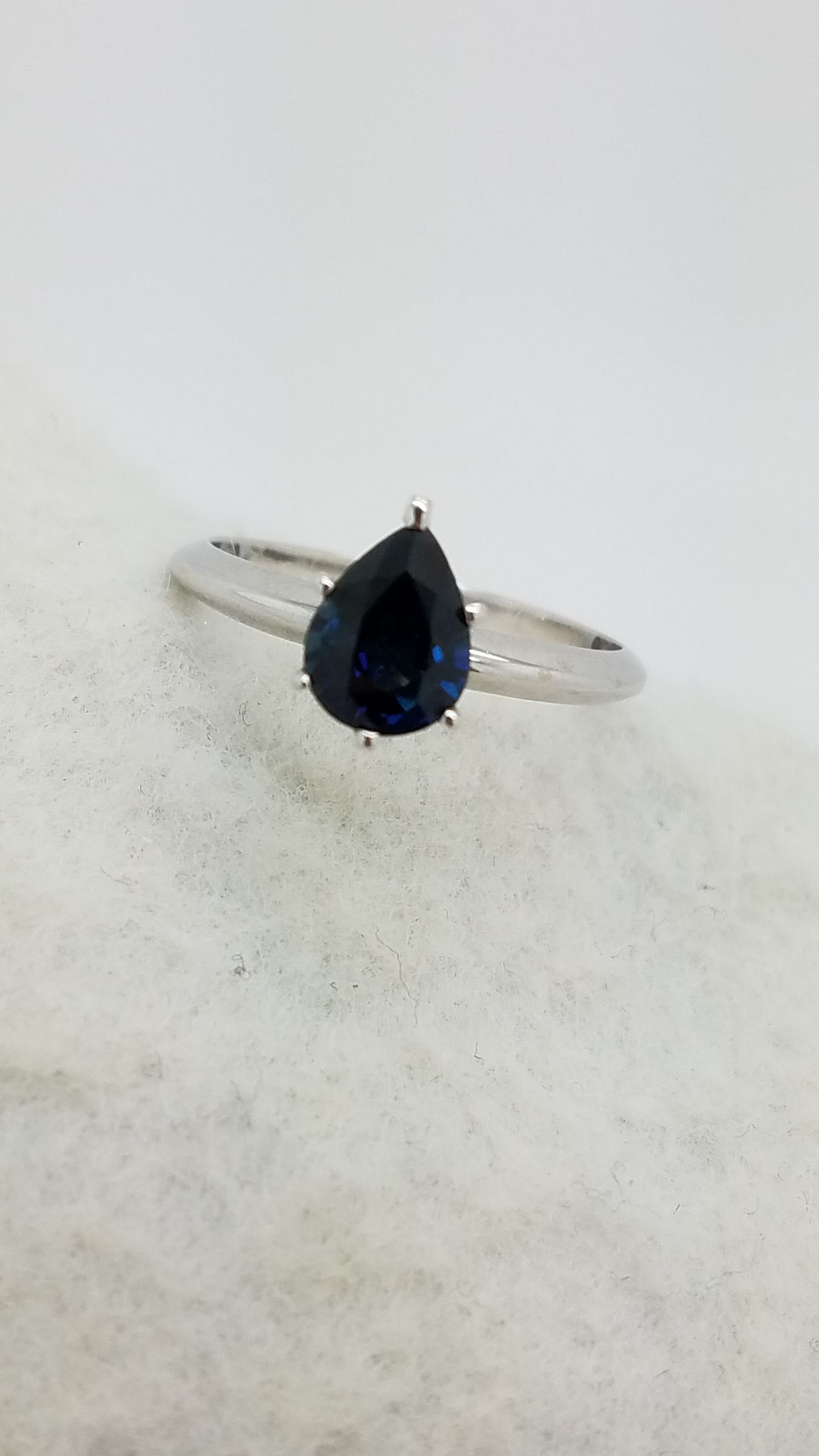 ring gemstoneking rings gold white round sapphire in item engagement solitaire ct jewelry blue accessories natural s from women on real