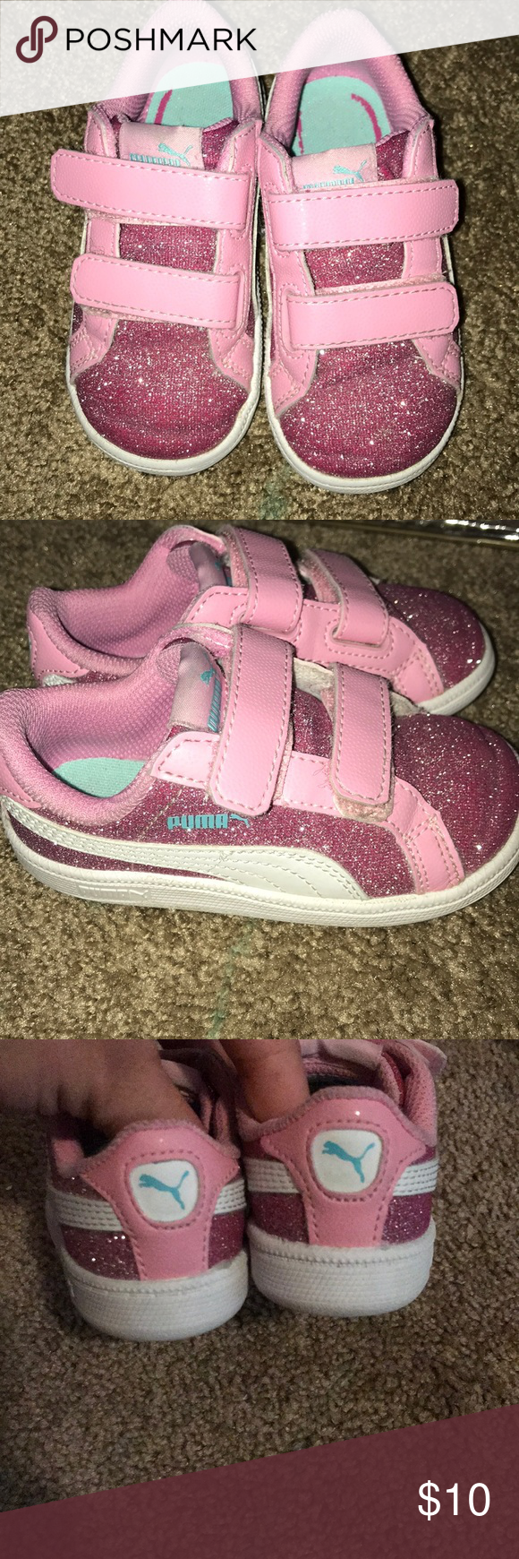9dec87580c73 Toddler pink glitter pumas Toddler sneakers. Puma glitter pink and light  blue Puma Shoes Sneakers