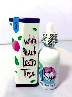 1 Night Stan, a white peach tea menthol by Uncharted E-Liquids
