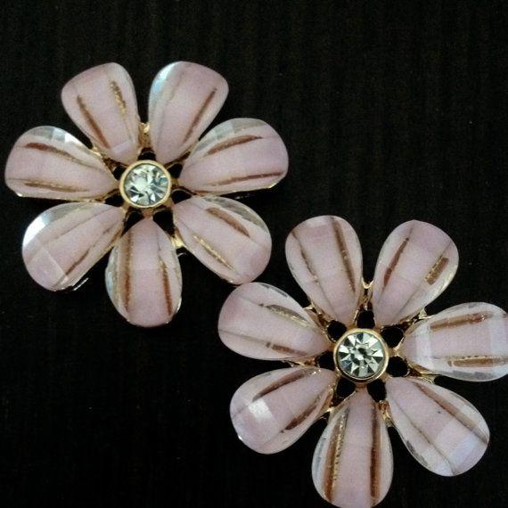 """Pink Crystal Flower gauges plugs 1/2"""" - 12mm 9/16"""" - 14mm 5/8"""" - 16mm 11/16"""" - 18mm 3/4"""" - 19mm"""