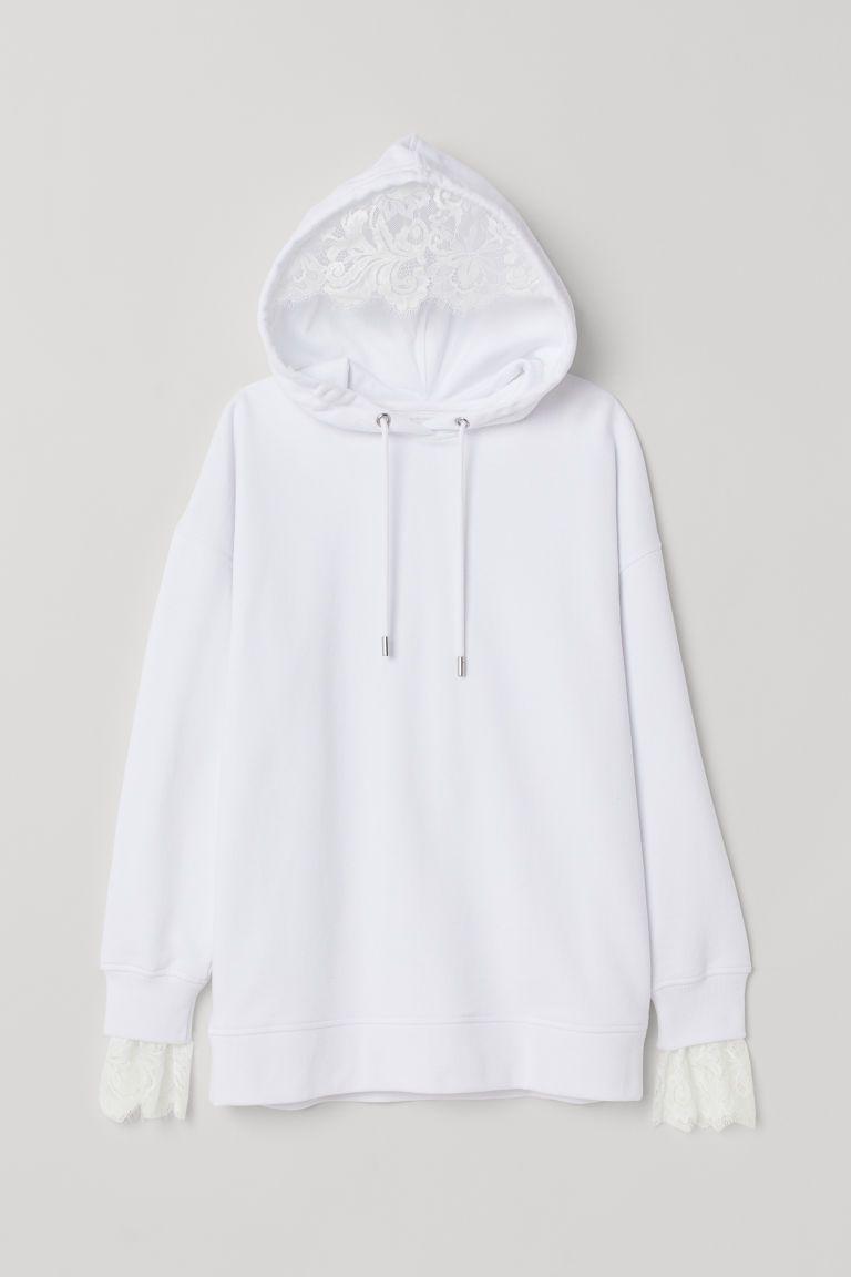 Oversized Hoodie White Ladies H M Us Sweatshirts Oversize Hoodie Hooded Sweatshirts [ 1152 x 768 Pixel ]