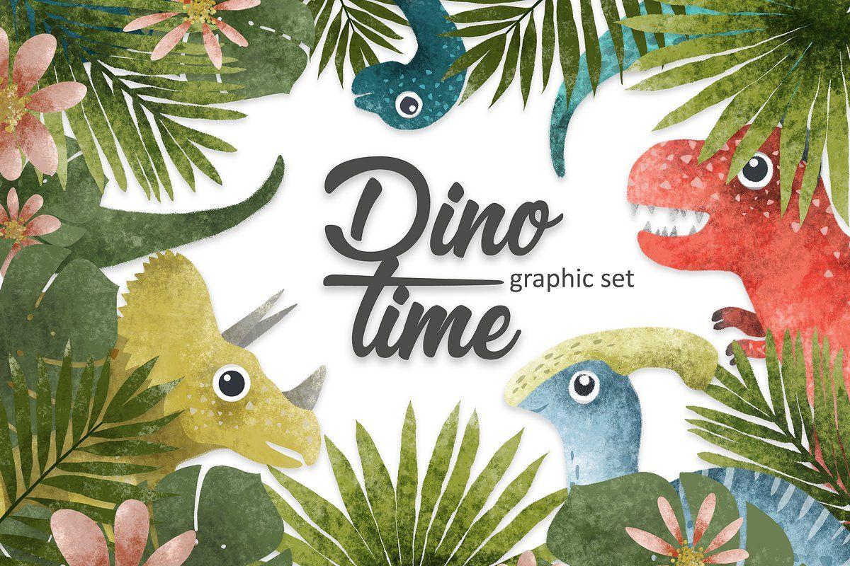 Dino Time Illustrations Set Dinosaur Illustration Dinosaur Clip Art Illustration