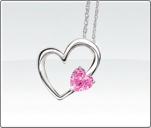 Created Pink Sapphire Heart Pendant
