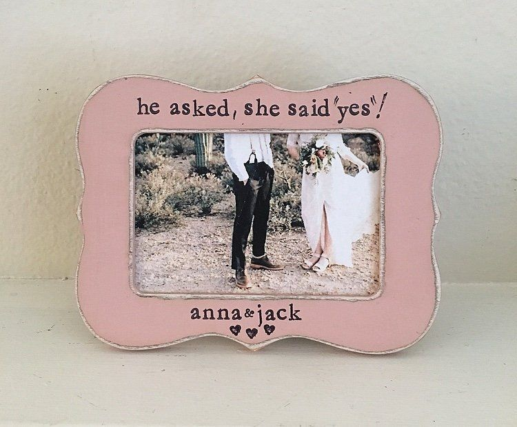 Personalized Engagement Gift He Asked She Said Yes Picture Frame