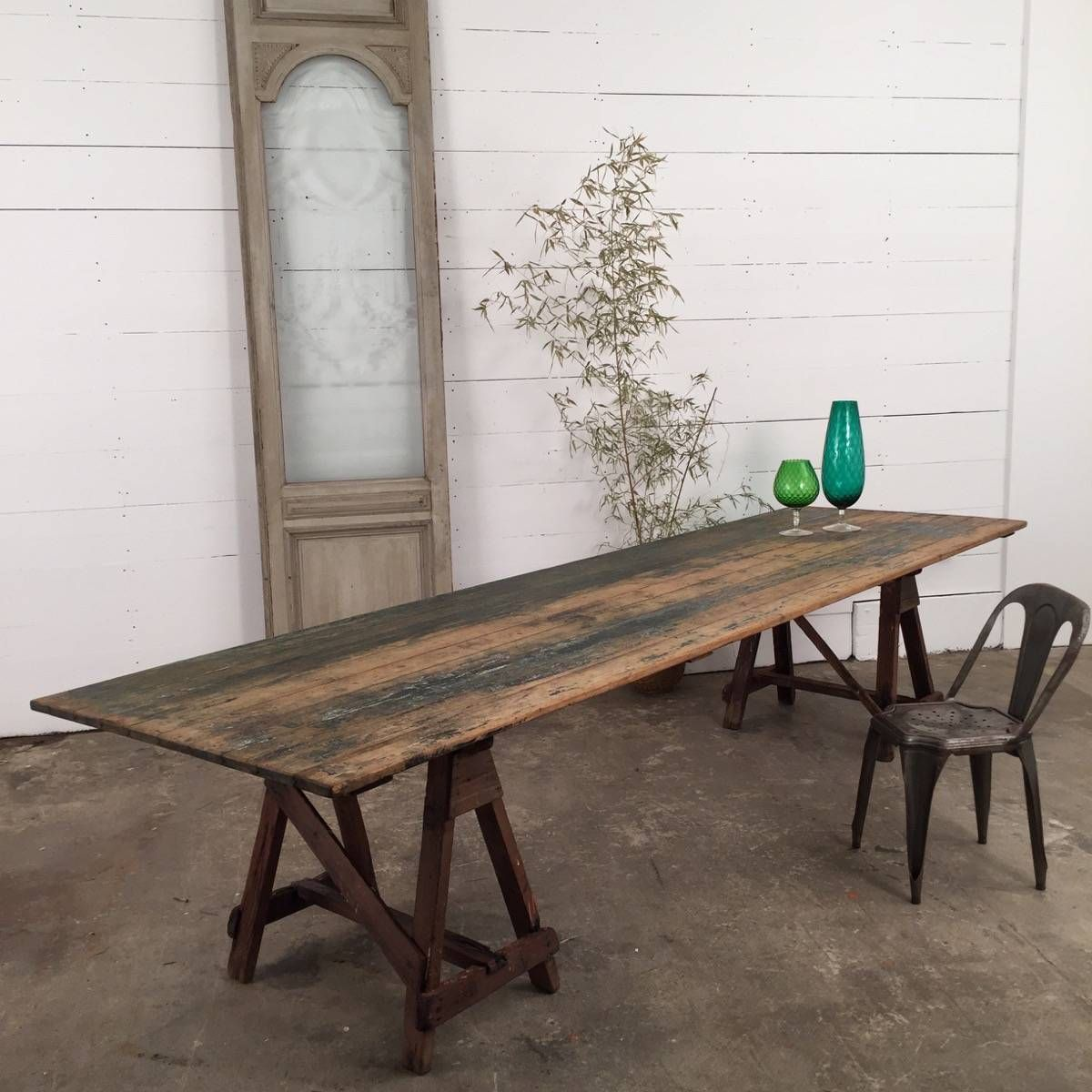 Large Industrial Wooden Trestle Table   Espace Nord Ouest