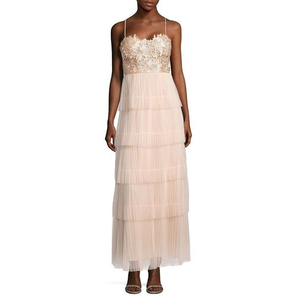 JS Collections Spaghetti-Strap Lace-Bodice Gown ($140) ❤ liked on ...