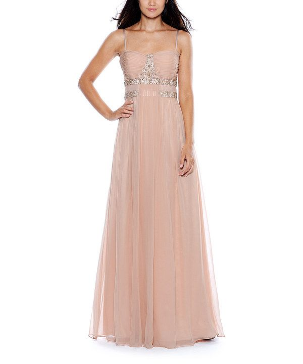 1527c5740b76 Look at this #zulilyfind! Decode 1.8 Blush & Silver Ruched Gown by ...