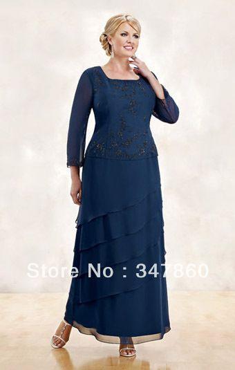 gw188 Vestidos de fiesta para gorditas long sleeve plus size mother ...