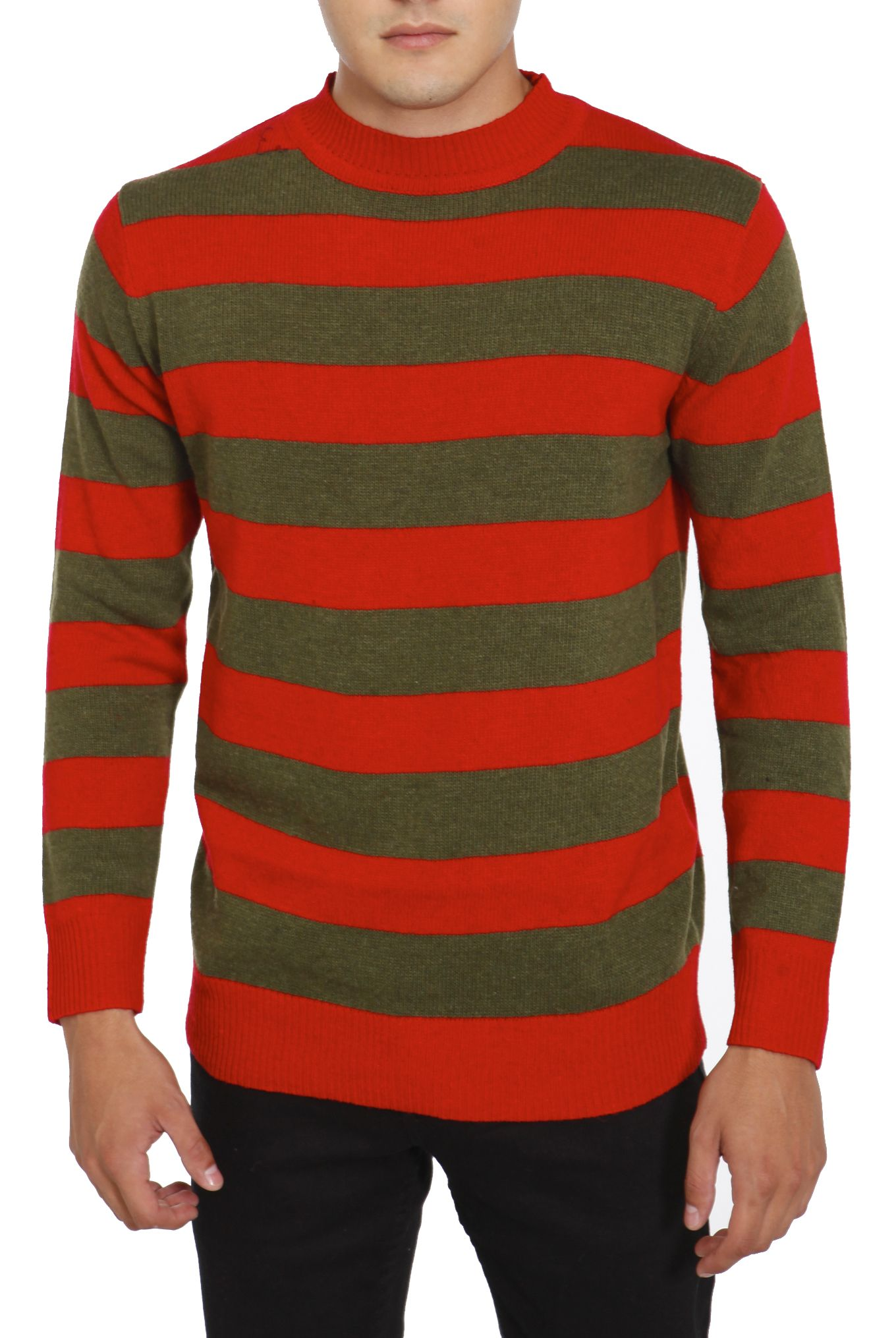 You'll look killer in this red and olive green striped sweater ...