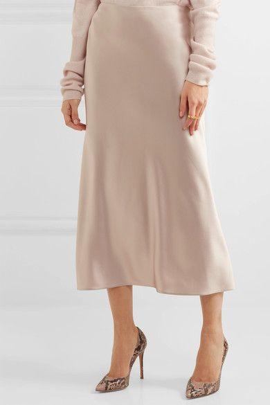 6db2772452 Calvin Klein Collection - Kristina Silk-satin Midi Skirt - Off-white ...