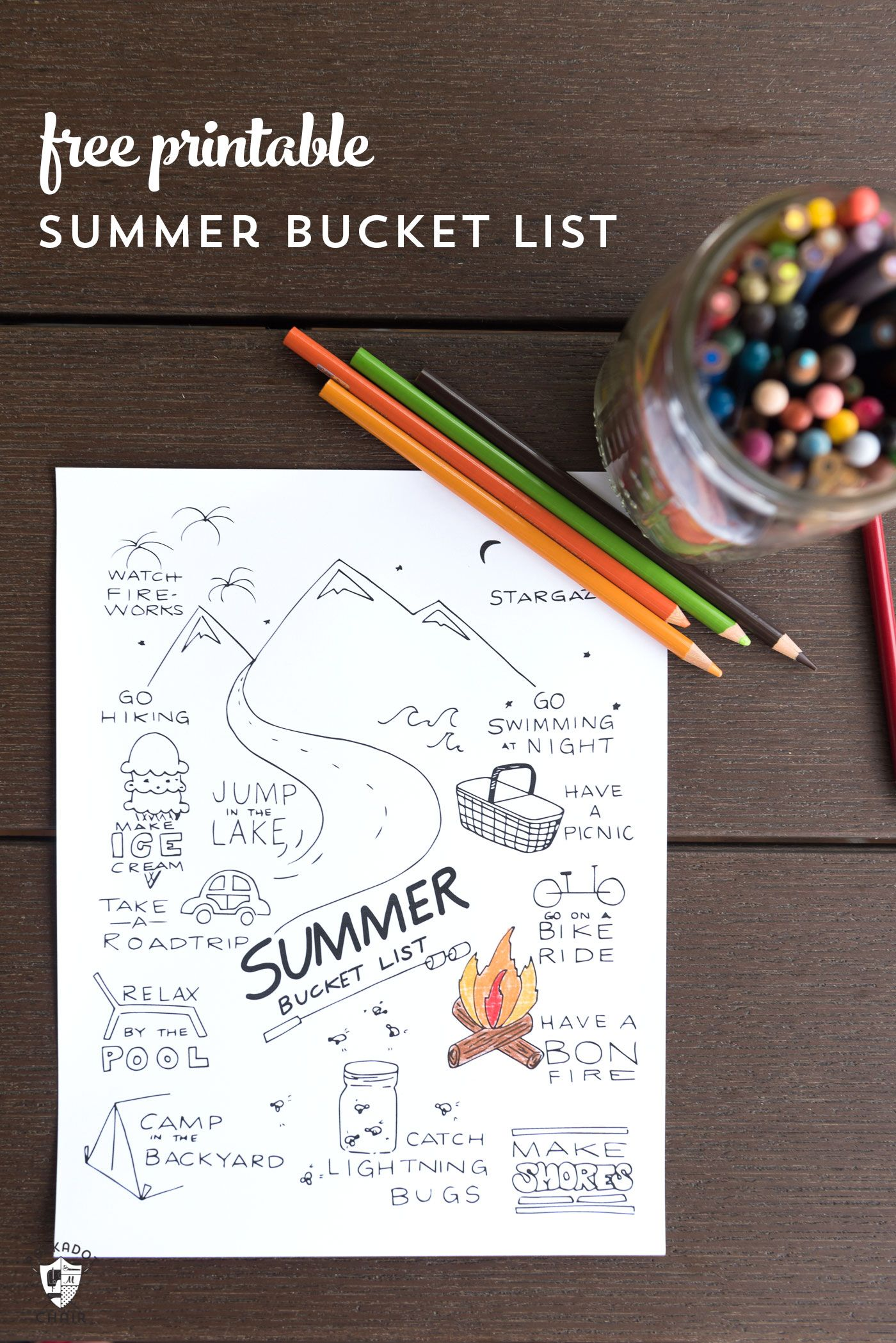 Free Printable Summer Bucket List Coloring Page Summer Bucket List Printable Summer Bucket Lists Coloring Pages