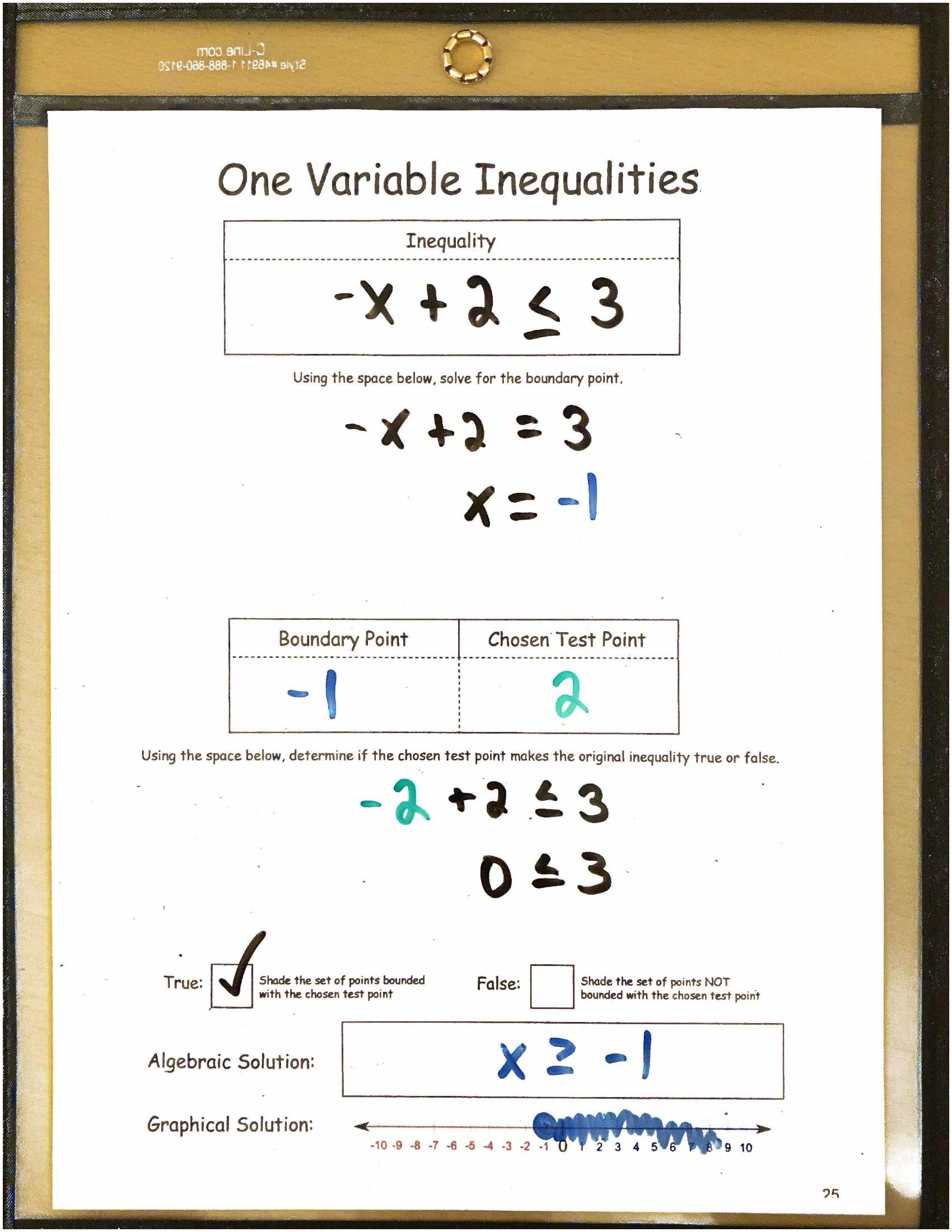 Algebra 1 Reusable Dry Erase Pocket Guides