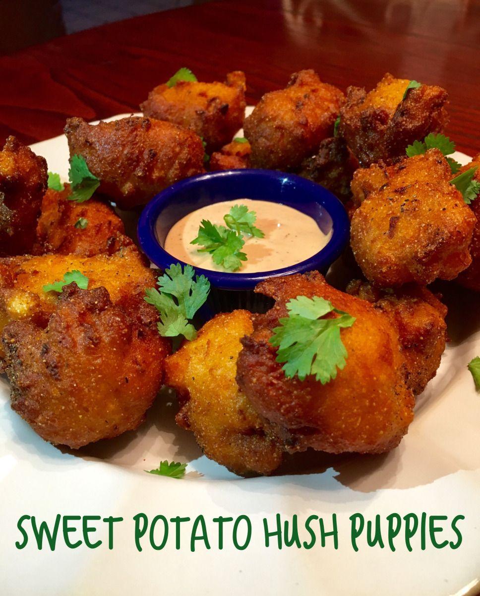 Sweet Potato Hush Puppies Hush Puppies Recipe Stuffed Peppers Savory Sweet Potato Recipes