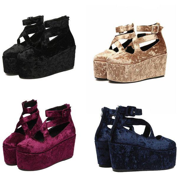 VELVET PLATFORM shoes 90s GRUNGE ($45) ❤ liked on Polyvore ...