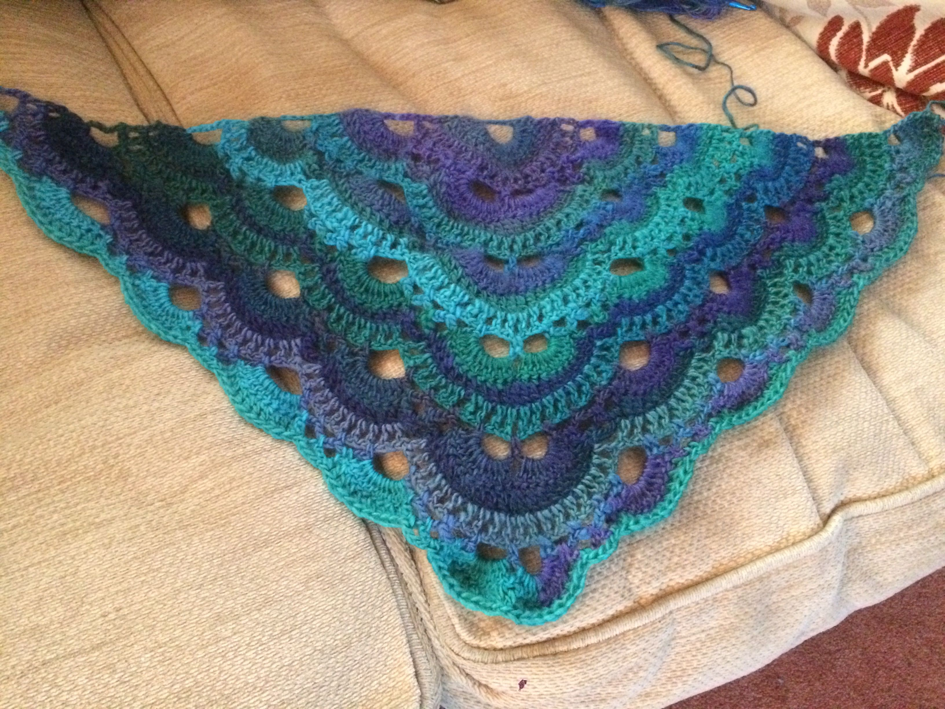 Beginnings Of My Crocheted Virus Shawl In Dragonfly By Red