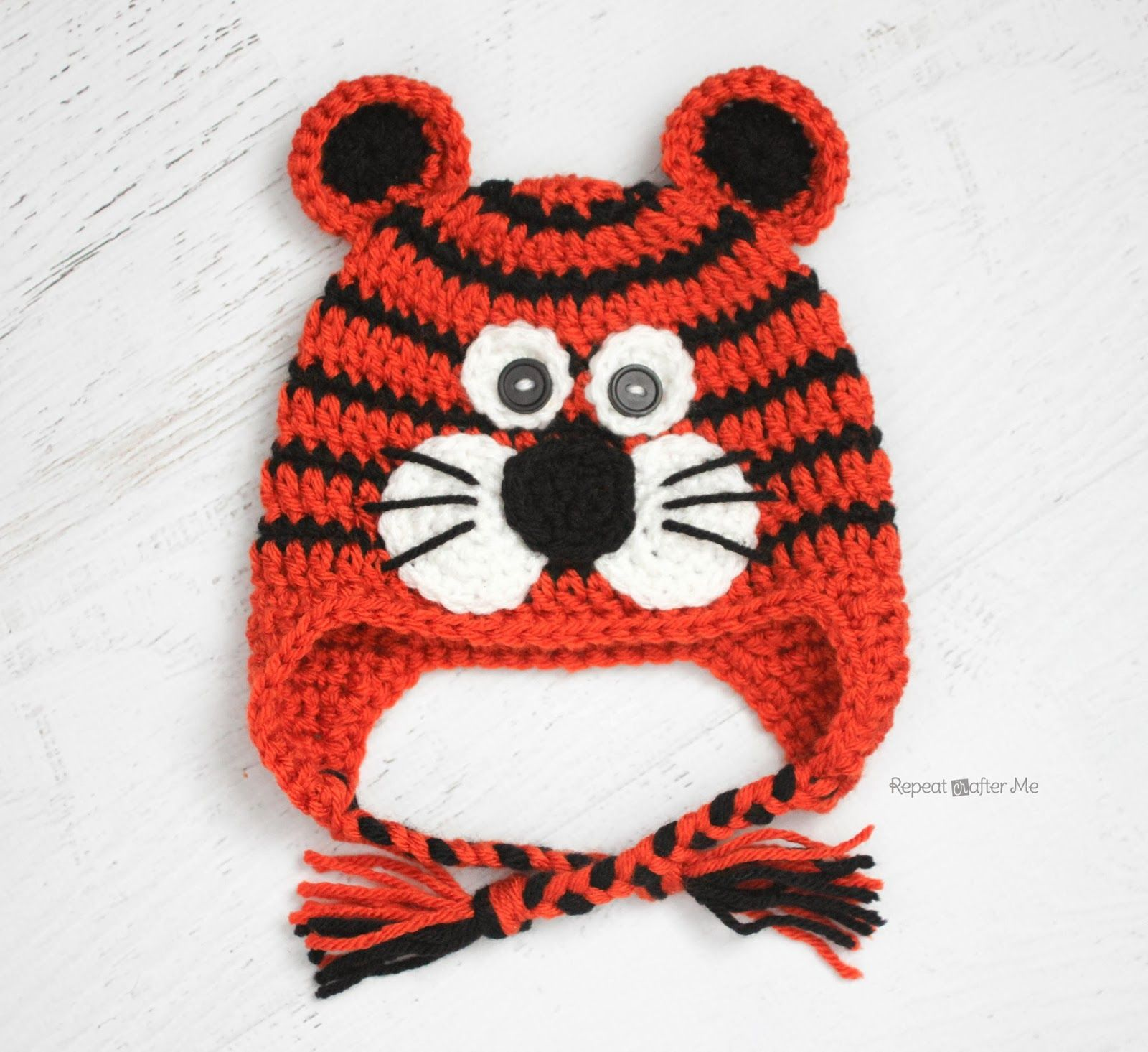 Repeat Crafter Me: Crochet Tiger Hat Pattern | Crochet kids hats ...