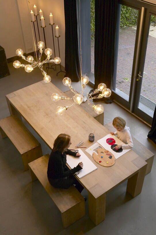 hanglamp eettafel transparant flexibel eikelenboom woonkamer