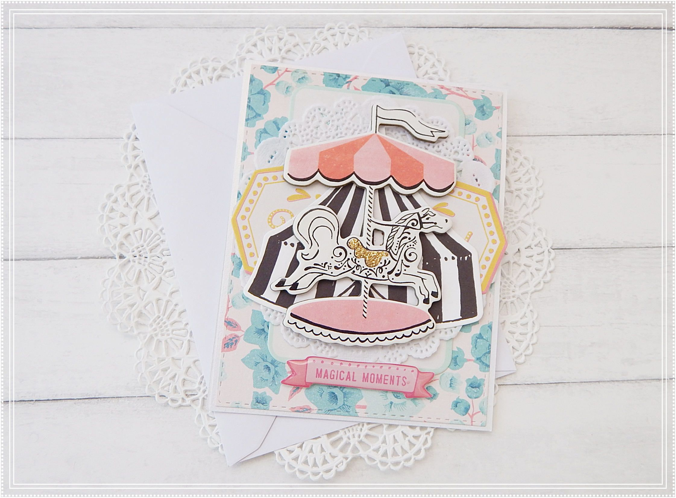 Maggie Holmes Carousel Handmade Greeting Card Magical Moments