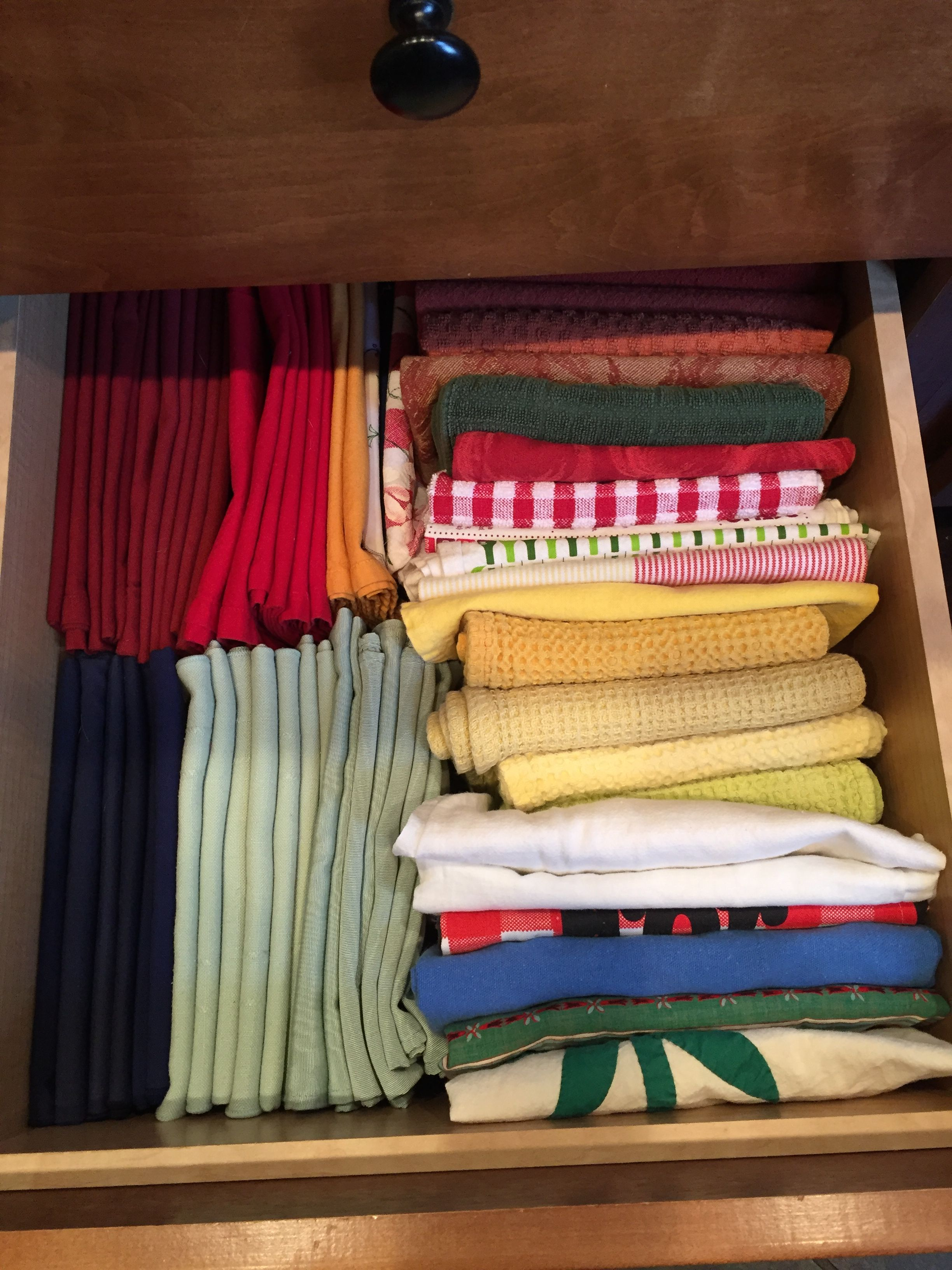 My Kitchen Towels And Cloth Napkins Organized The Konmarie Method