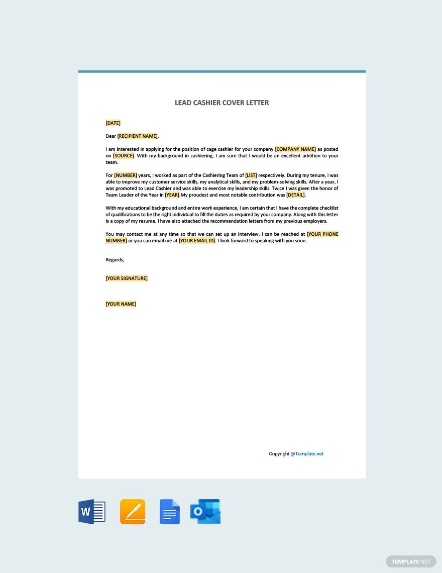 Free lead cashier cover letter word apple pages