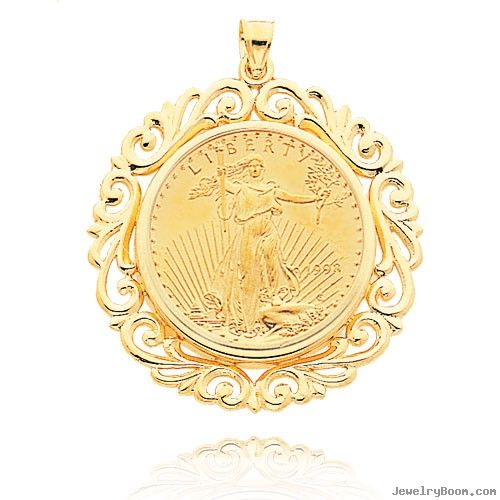 Coin necklace gold gold 1oz fancy bezel mounted american coin necklace gold gold 1oz fancy bezel mounted american eagle coin aloadofball Image collections