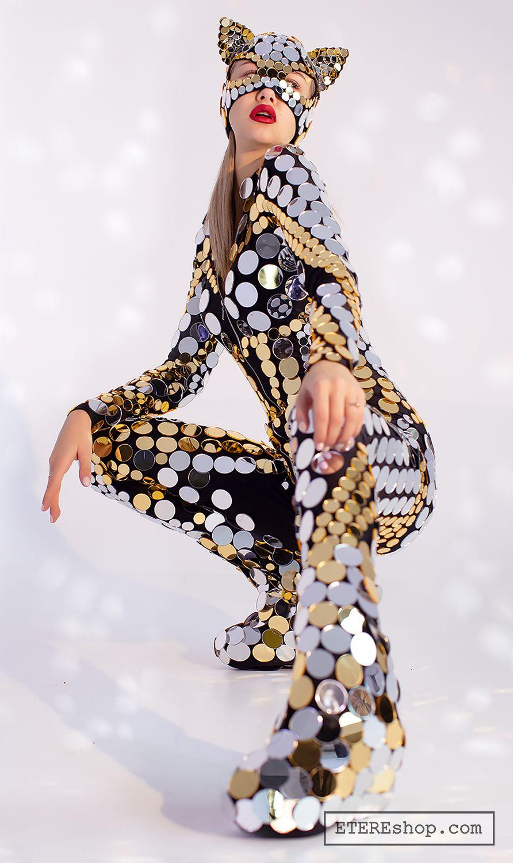 Mirror Kitty Festival wear Disco ball glitter sparkly