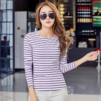 Poleras De Mujer Blusas T Shirt Stripe Sleeve Long Women Tshirt 2018 New Womens Casual T-Shirts Vetement Femme Plus Size S-5XL