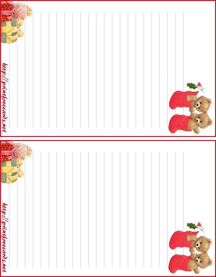 Free Printable Christmas Letterhead With Bears And Stockings Free Printable Stationery Christmas Letterhead Christmas Printables