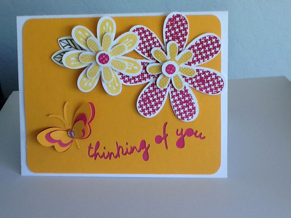 CTMH Hooray Bouquet stamp set cut with art philosophy Cricut catridge on top of artfully sent Cricut template (butterfly and thinking of you)
