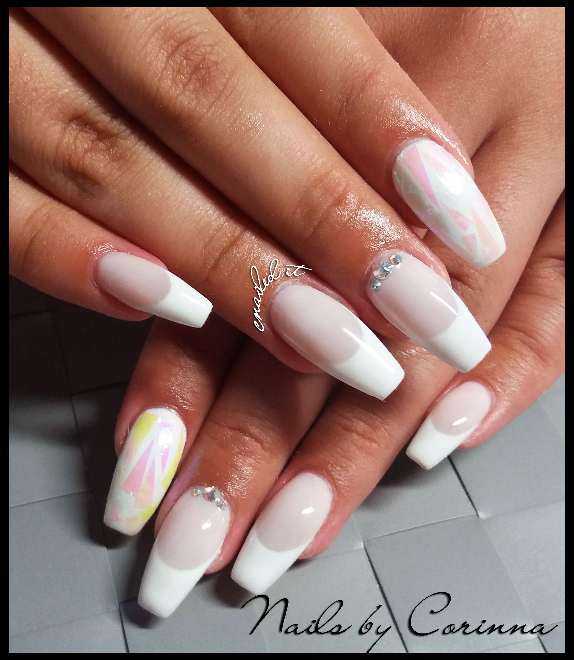 milky #french #brokenmirror #nailart #swarovski #acrylic #manicure ...