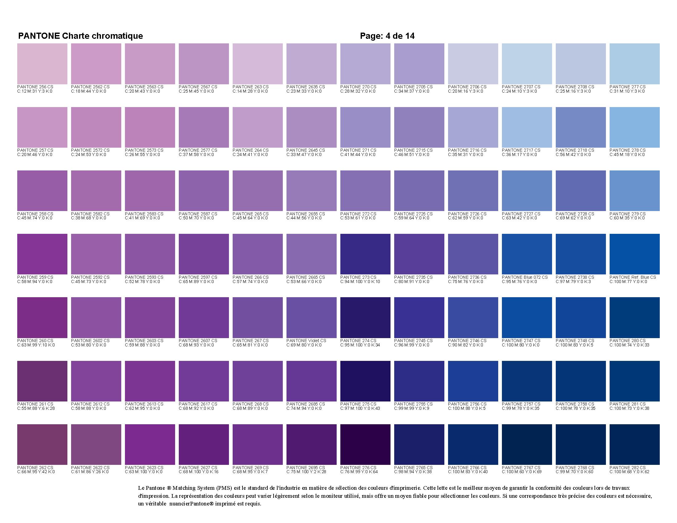 Charte chromatique pantone trelco color violet - Nuancier de violet ...