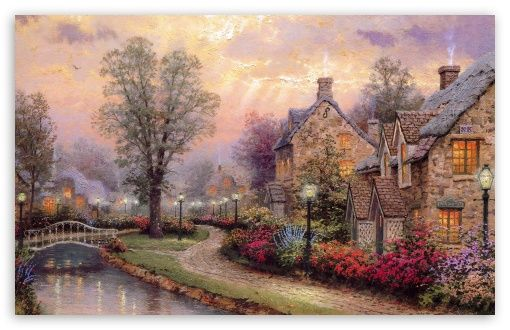 Village Painting by Thomas Kinkade HD desktop wallpaper : High Definition : Fullscreen : Mobile : Dual Monitor