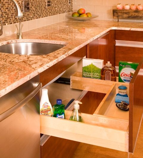 Traditional Kitchen with Complex granite counters, White Subway Tile 3x6 Glossy, REV-A-SHELF PULL-OUT WOOD DRAWER, L-shaped