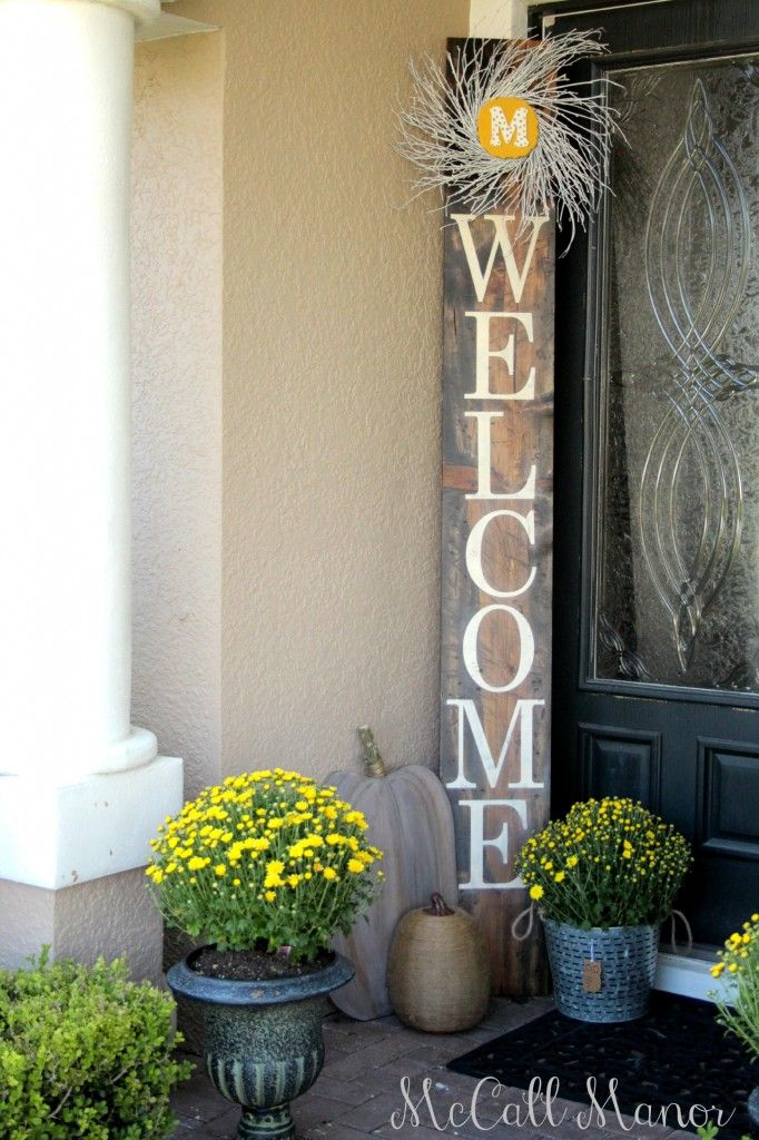 Welcome Sign Using The Silhouette Machine Mccall Manor Porch Decorating Front Porch Signs Front Porch Decorating