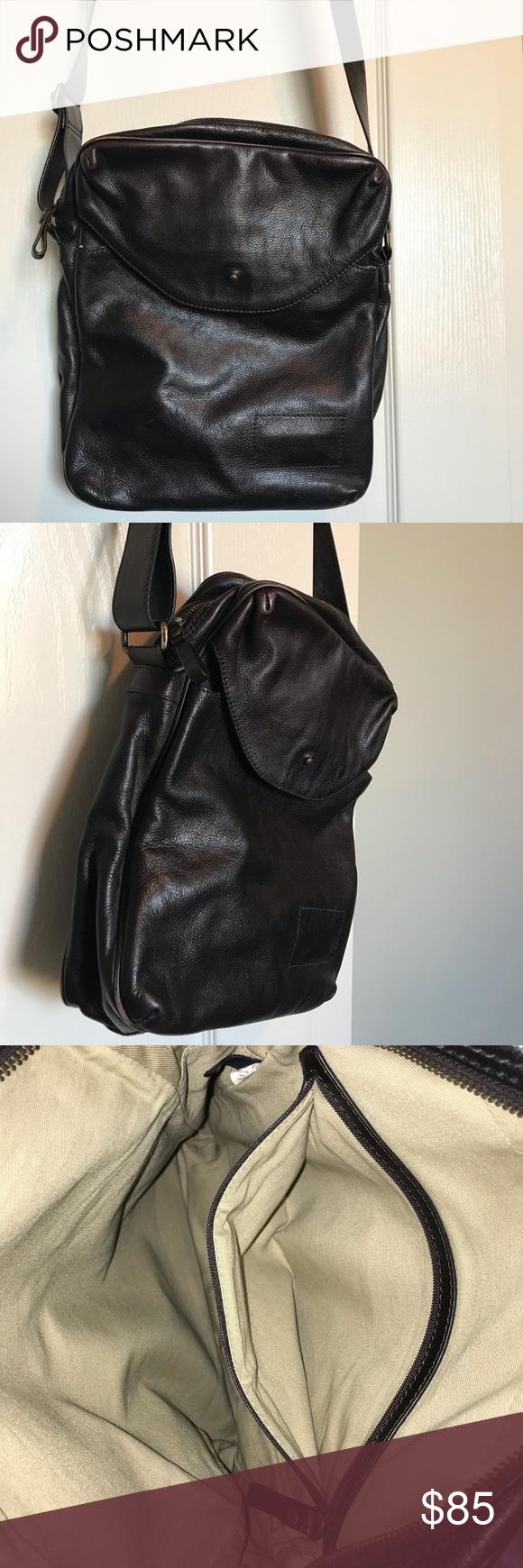Banana Republic brown leather messenger bag Dark brown, genuine leather  messenger style bag with adjustable a6d114f898